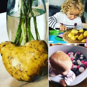 Mama(aus)zeit, Kartoffel schneiden Bällebad Herzkartoffel